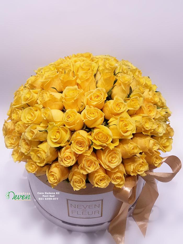 Flower box sa 101 žutom ružom