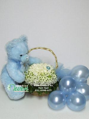 Korpa sa ružama, medom i balonima