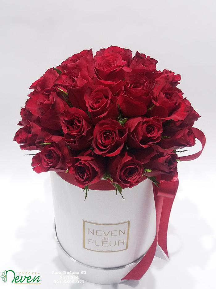 Flower box sa crvenim ružama