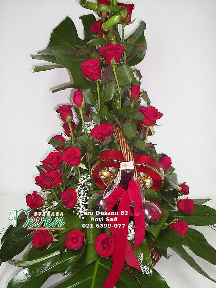 51 crvena ruža u korpi