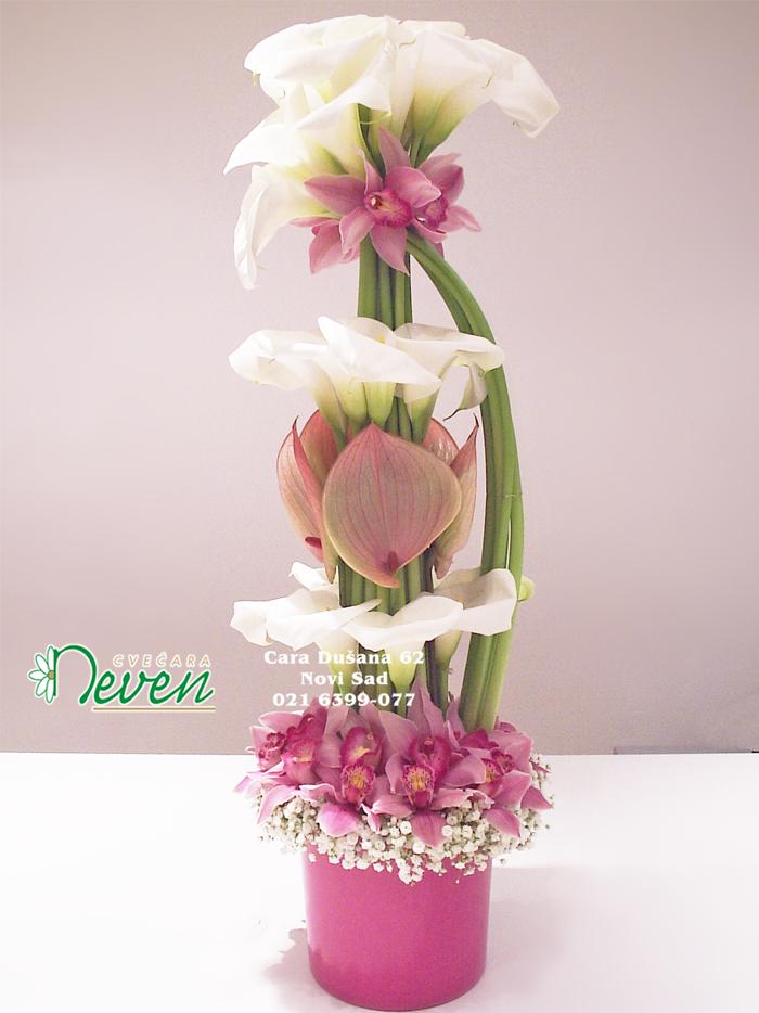 Aranžman sa kalama, orhidejama i anturijumima