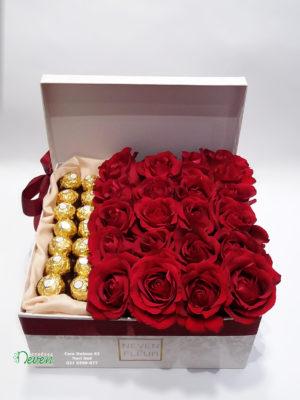 Ukrasna kutija sa crvenim ružama i ferrero roche