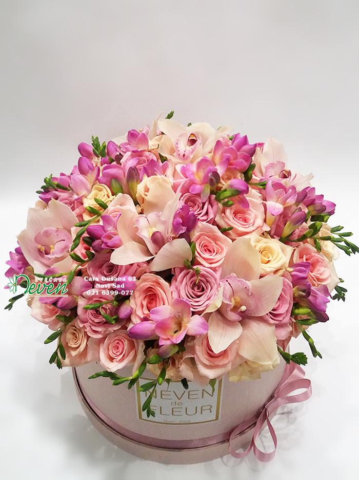 Flowerbox sa ružama, orhidejama i frezijama