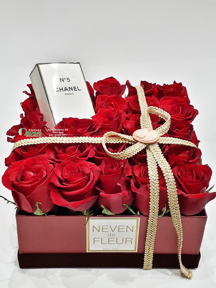 Crvene ruže u kutiji sa parfemom.