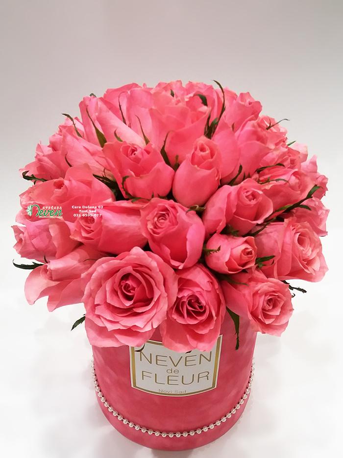 Plišano box sa ''Ace Pink'' ružama.