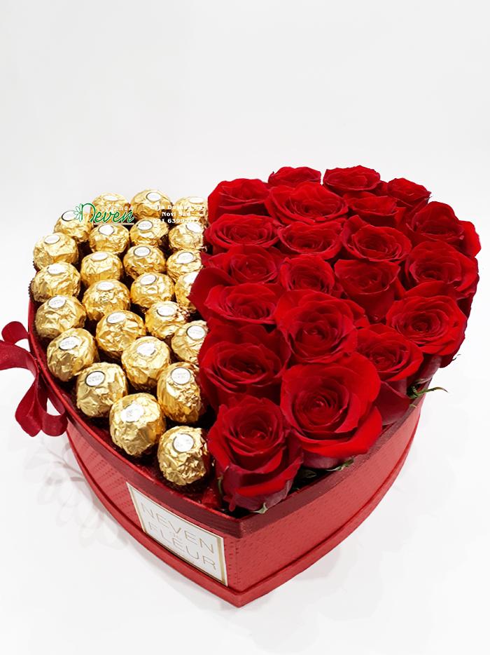 Ferrero roche i crvene ruže u srcu