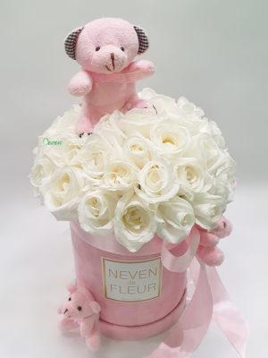 Flowerbox sa ružama i roza medvedićima