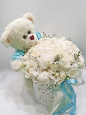 Flowerbox sa medom za rođenje dečaka