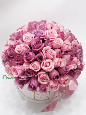 Flower box sa 101 ružom u ljubičastoj i roza boji