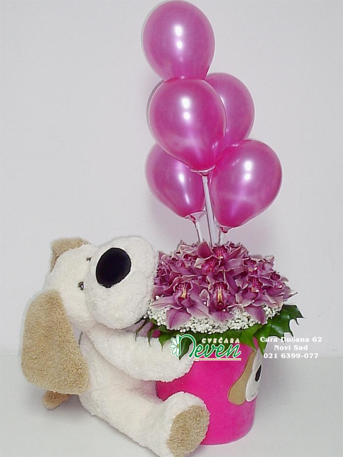 Aranžman sa igračkom, orhidejama i balonima