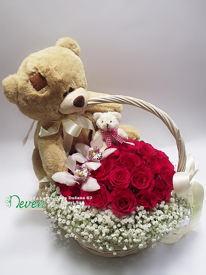 Korpa sa medom, ružama i orhidejama