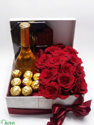 Poklon kutija sa crvenim ružama