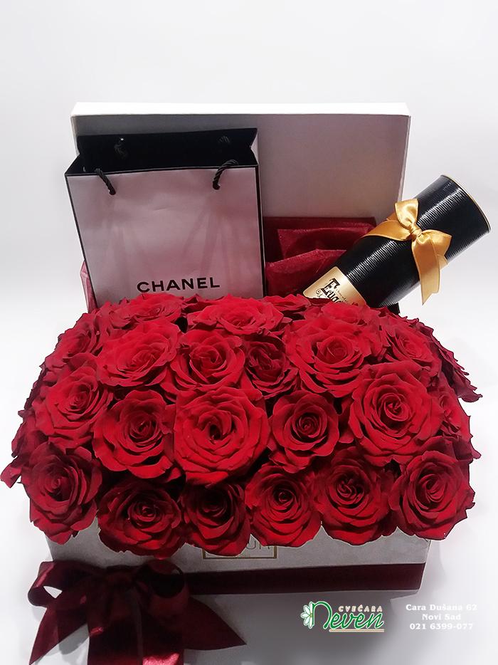 Crvene ruže i pokloni u ukrasnoj kutiji