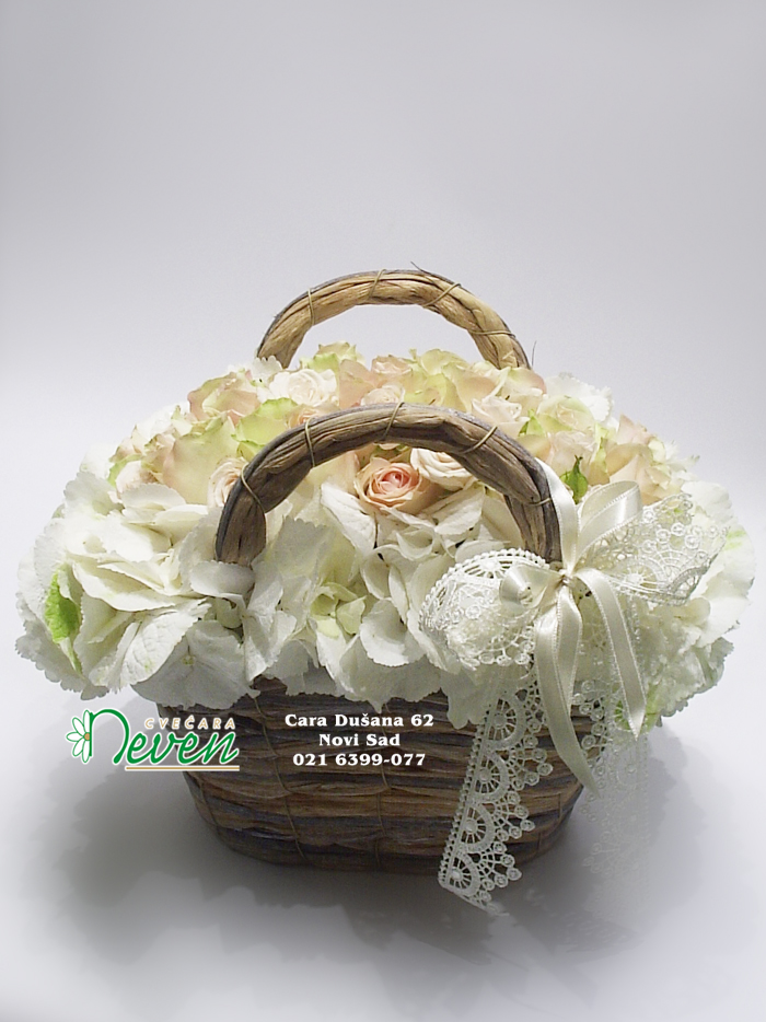 Korpica-torbica sa ružama i hortenzijama