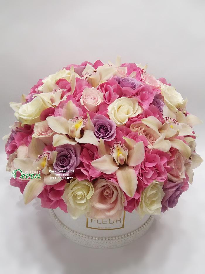 Flowerbox sa hortenzijama, ružama i orhidejama.