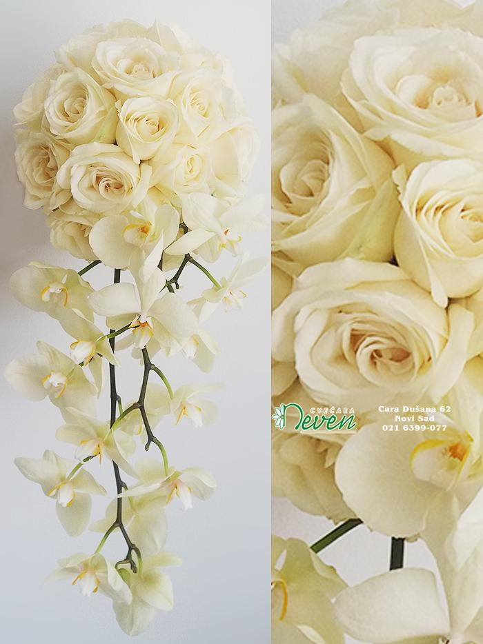 Bidermajer sa ružama i orhidejama ''Phalaenopsis''