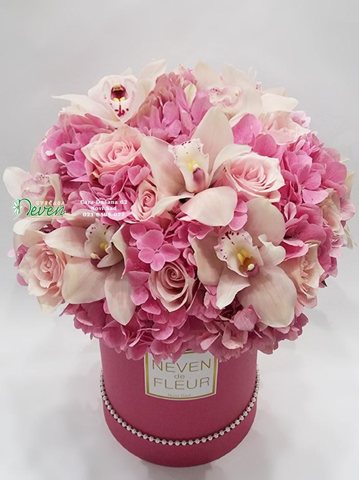Plišani flowerbox sa hortenzijama, ružama i orhidejama
