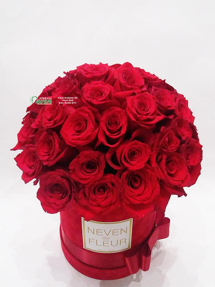 Plišani box sa crvenim ružama.