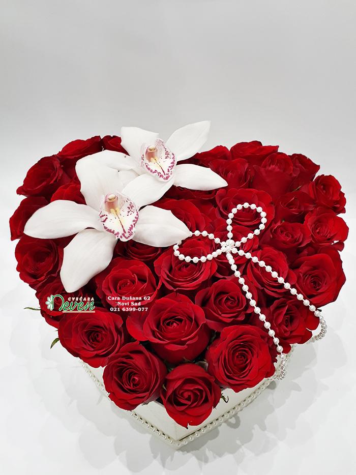 Srce sa crvenim ružama